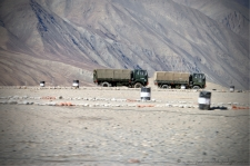 Army trucks just outside of Leh