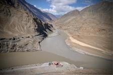 Indus - Zanskar Confluence. Also called Sangam