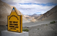 First view of the world famous Pangong Lake