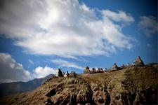 Chortens on a hill