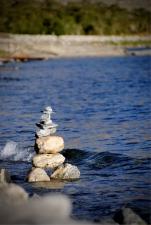Stone Chorten piled up by the Pangong Lake