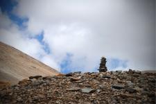 Stone Chorten on the hills near Tanglang La