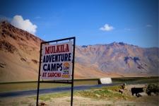 Mulkila Adventure Camps, Sarchu - Signboard